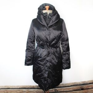 Tristan Long Black Duck Down Belted Winter Small